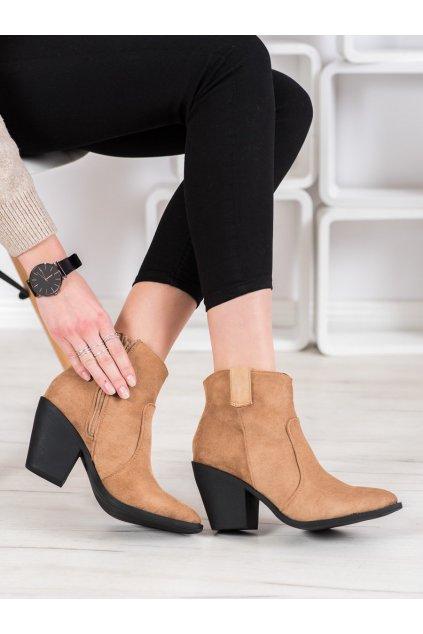 Hnedé dámske topánky Small swan kod OM291T