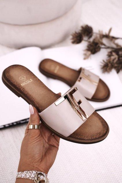 Dámske šľapky farba hnedá kód obuvi 2556/008 BEIGE
