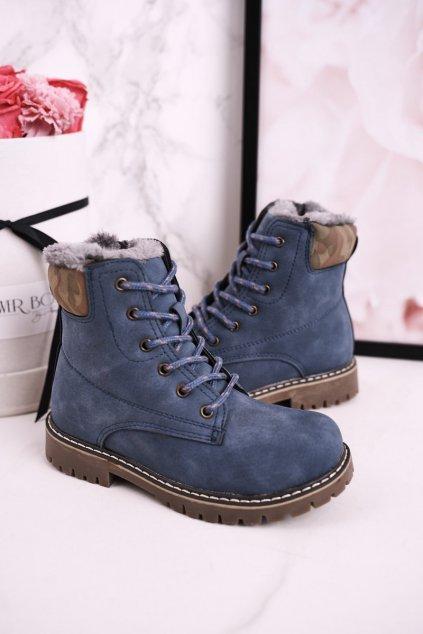 Detské členkové topánky farba modrá NJSK HD158 BLUE