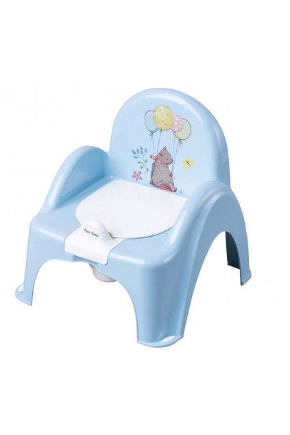 Hrajúci detský nočník s poklopom Medvedík modrý