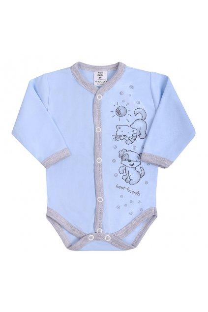 Dojčenské body celorozopínacie New Baby Kamaráti modré