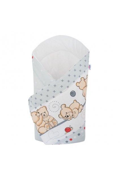 Detská zavinovačka New Baby svetlo sivá s medvedíkom