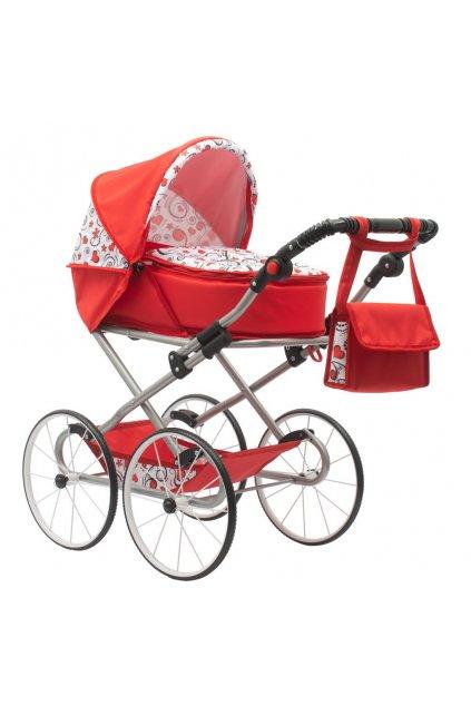 Detský Retro kočík pre bábiky 2v1 New Baby Anička červený so srdiečkami