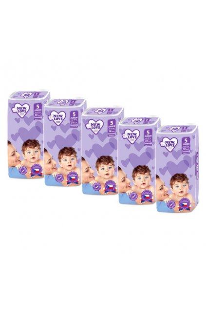 MEGAPACK Detské jednorazové plienky New Love Premium comfort 5 JUNIOR 11-25 kg 5x38 ks