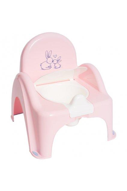 Hrajúci detský nočník s poklopom Bunny ružový