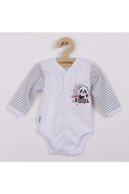 Dojčenské celorozopínacie body s dlhým rukávom New Baby Panda