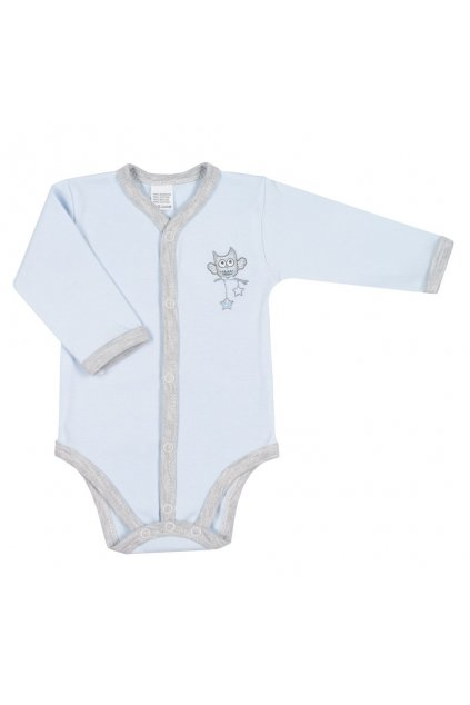 Dojčenské celorozopínacie body New Baby Owl modré