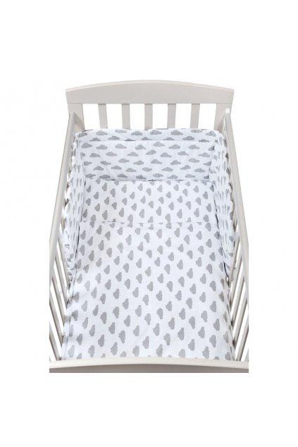 2-dielné posteľné obliečky New Baby 90/120 cm obláčiky sivé