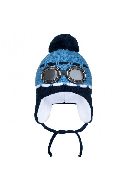 Zimná detská čiapočka New Baby okuliarky modrá