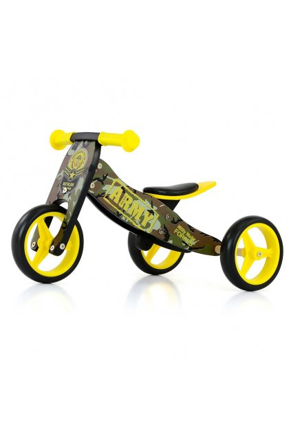 Detské multifunkčné odrážadlo bicykel 2v1 Milly Mally JAKE Army