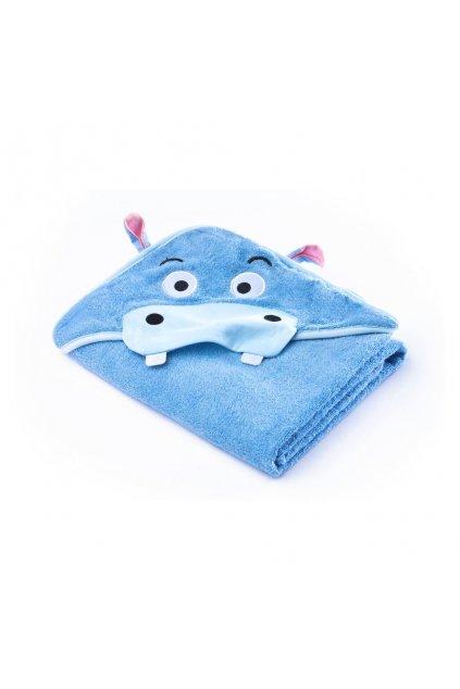 Detská osuška Sensillo Water Friends 100x100cm blue hippo