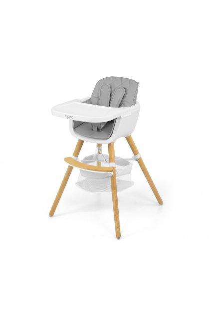 Jedálenská stolička Milly Mally 2v1 Espoo sivá