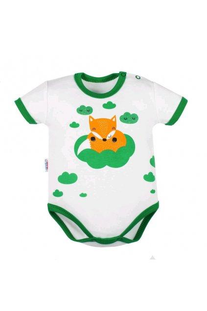Dojčenské body s krátkym rukávom New Baby Líška zelená