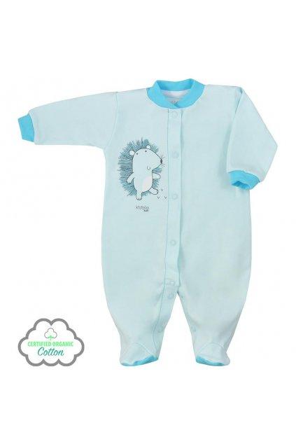 Dojčenský overal z organickej bavlny Koala Lesný Priateľ modrý