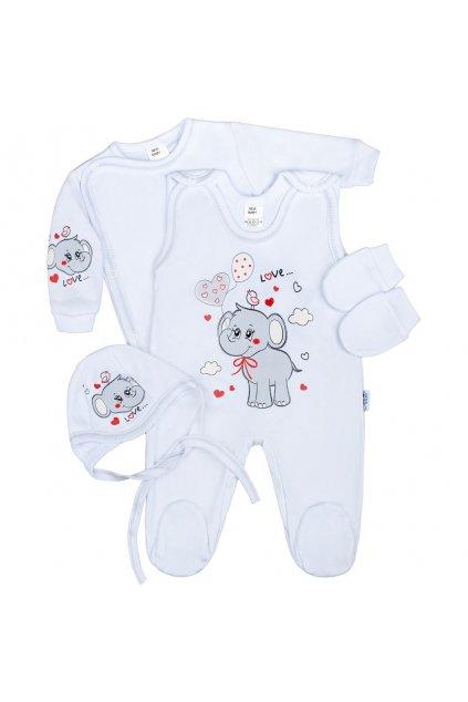 Súpravička 4-dielna New Baby Sloník bielo šedá