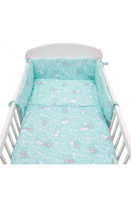 3-dielne posteľné obliečky New Baby 90/120 cm Králičky mátové