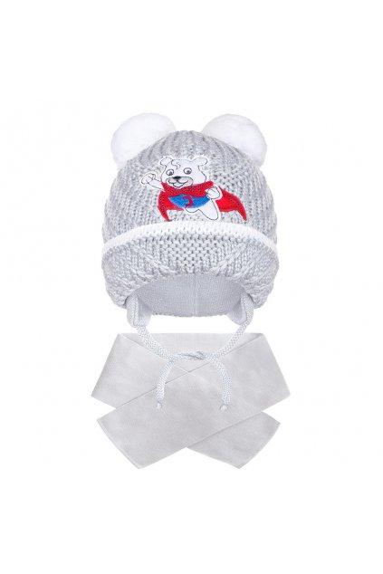 Zimná detská čiapočka so šálom New Baby medvedík J sivá