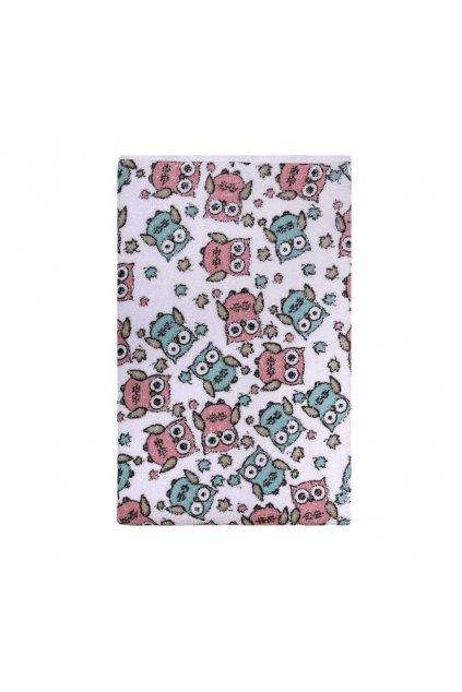 Nepremokavá podložka Akuku froté 70x50 - biela s ružovými sovami
