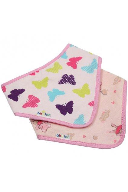 Detský podbradník-šatka Akuku 2 ks motýlik-zvieratká