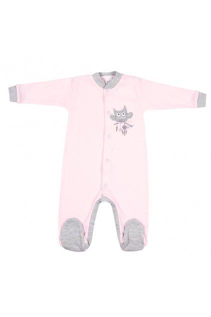 Dojčenský overal New Baby Owl ružový