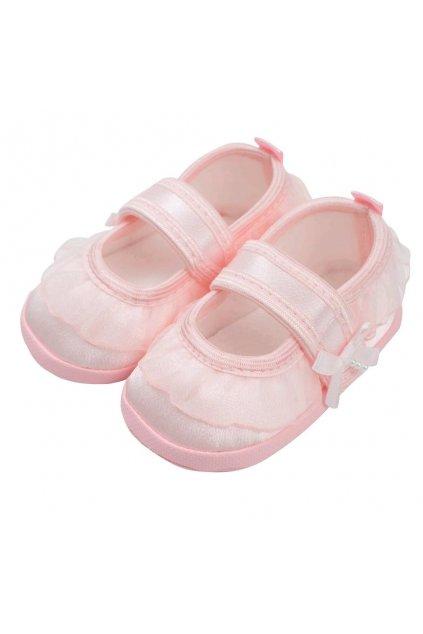 Dojčenské capačky New Baby saténové ružové 12-18 m