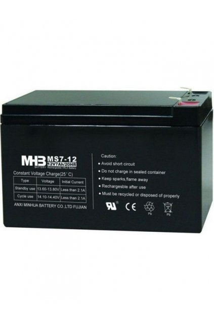 Pb akumulátor MHB VRLA AGM 12V/7Ah (MS7-12)-faston 6,3 mm