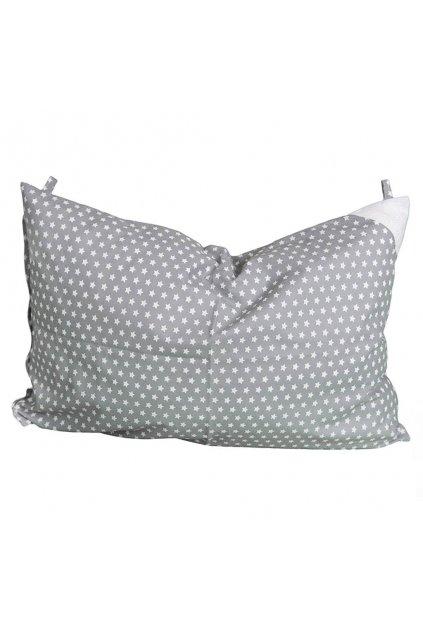 Obliečka na vankúš sivá s hviezdičkami - 60x40 cm
