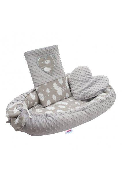 Luxusné hniezdočko s vankúšikom a perinkou New Baby Srdiečko Obláčik