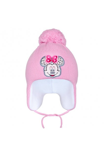 Zimná detská čiapočka New Baby Minnie tmavo ružová