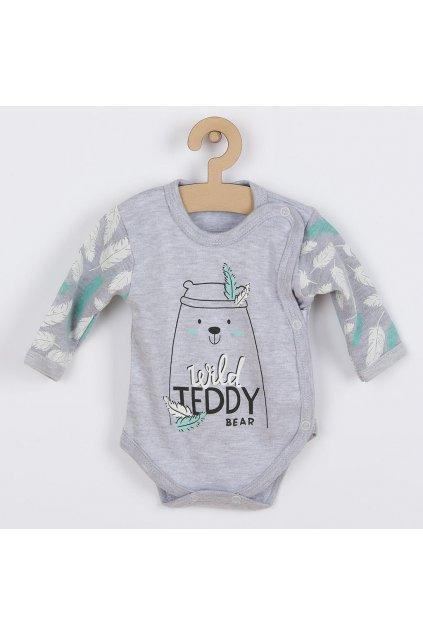 Dojčenské body s bočným zapínaním New Baby Wild Teddy