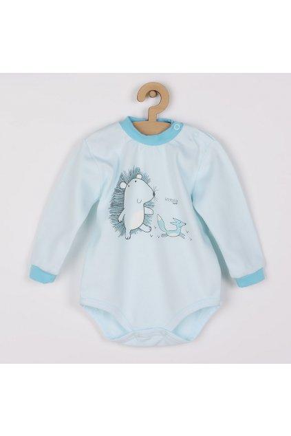 Dojčenské body s dlhým rukávom z organickej bavlny Koala Lesný Priateľ modré