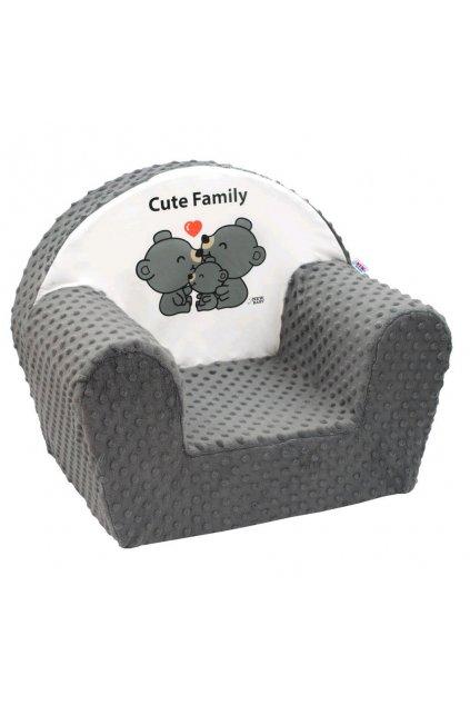Detské kreslo z Minky New Baby Cute Family sivé