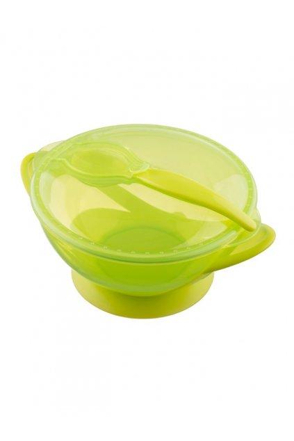 Detská miska s prísavkou a s lyžičkou Akuku zelená
