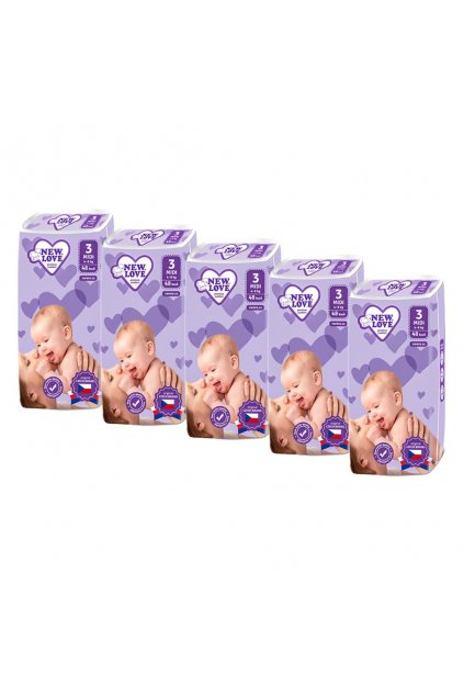 MEGAPACK Detské jednorazové plienky New Love Premium comfort 3 MIDI 4-9 kg 5x48 ks