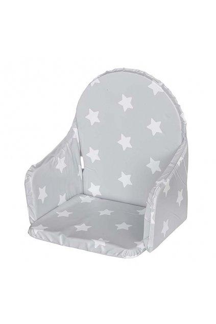Vložka do drevených jedálenských stoličiek typu New Baby Victory sivá hviezdičky biele
