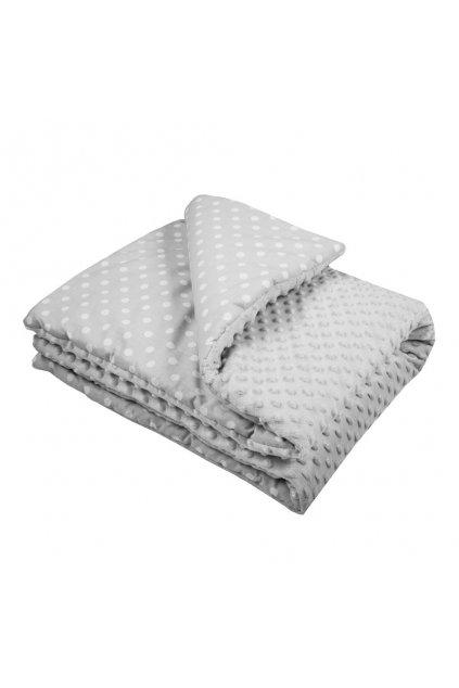 Detská deka z Minky s výplňou New Baby sivá 80x102 cm