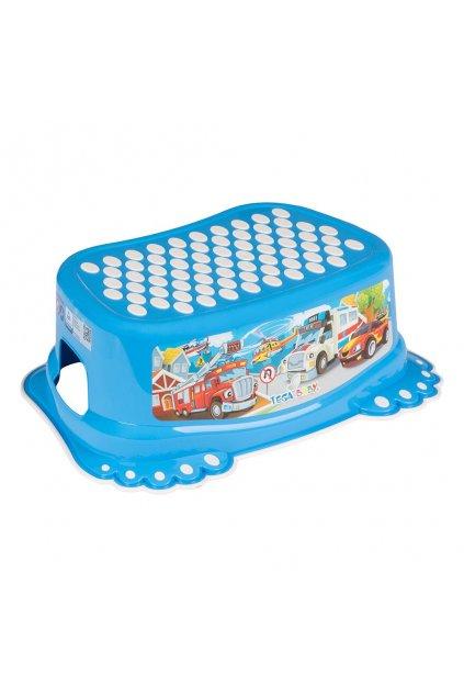 Detské protišmykové stúpadlo do kúpeľne Autíčka modré