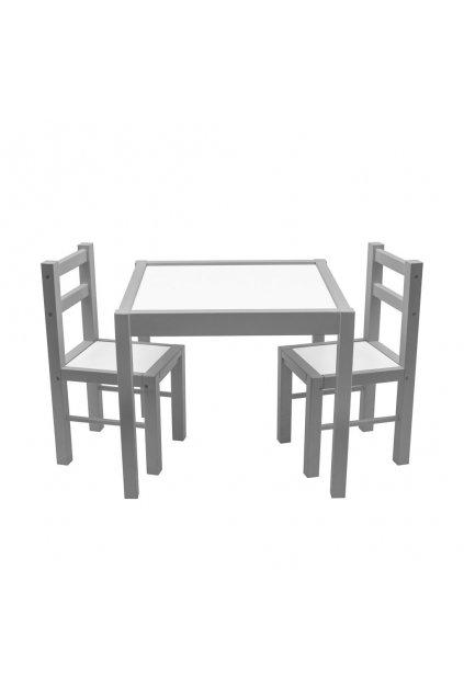 Detský drevený stôl so stoličkami New Baby PRIMA sivý