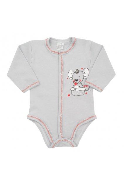 Dojčenské celorozopínacie body New Baby Mouse sivé