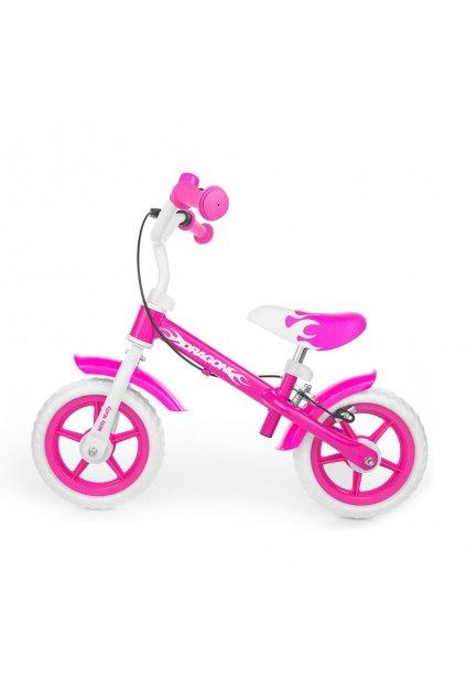 Detské odrážadlo kolo Milly Mally Dragon s brzdou pink