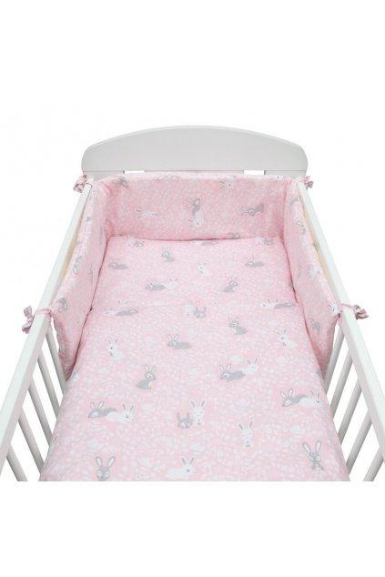 3-dielne posteľné obliečky New Baby 90/120 cm Králičky rúžové