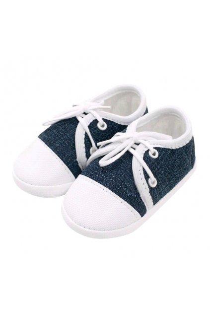 Dojčenské capačky tenisky New Baby jeans modré 12-18 m