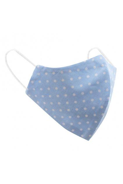 Ochranné bavlnené rúško Belisima modré biele bodky