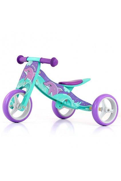 Detské multifunkčné odrážadlo bicykel 2v1 Milly Mally JAKE Dolphin