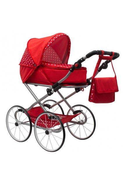 Detský Retro kočík pre bábiky 2v1 New Baby Magdalena červený s bodkami