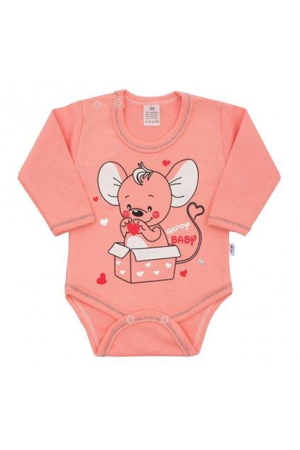 Dojčenské body s dlhým rukávom New Baby Mouse lososové