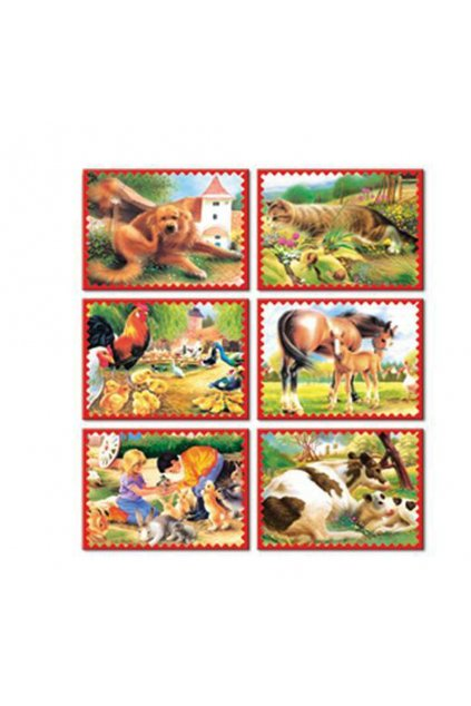 Skladacie obrázkové kocky 12 ks zvieratká z farmy