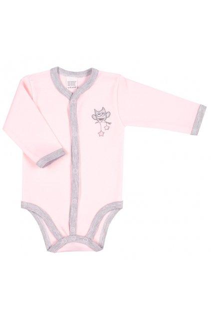 Dojčenské celorozopínacie body New Baby Owl ružové