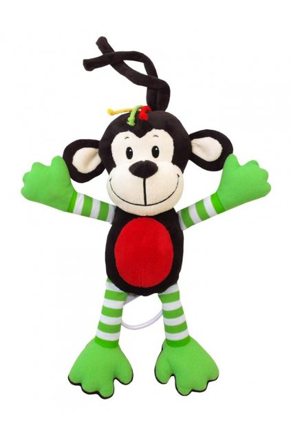 Detská plyšová hračka s hracím strojčekom Baby Mix opice zelená