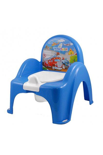 Hrajúci detský nočník s poklopom Autíčka modrý